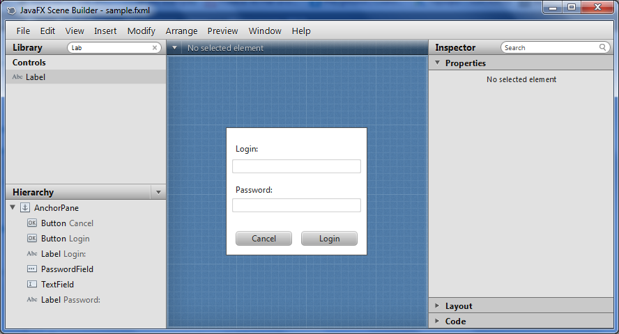Конструктор форм JavaFX Scene Builder в Intellij IDEA